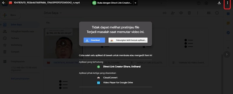 Kirim Video Google Drive Laptop