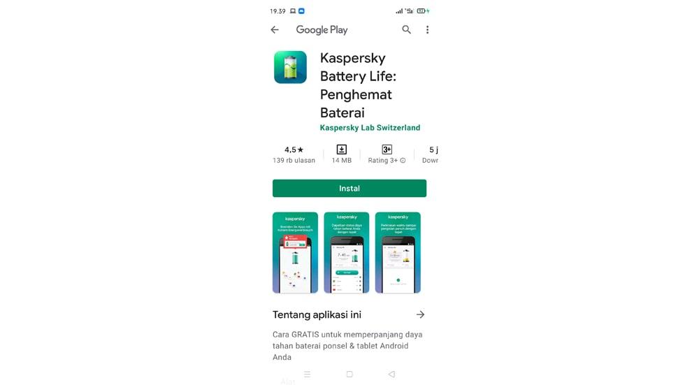 Aplikasi Penghemat Baterai Kaspersky